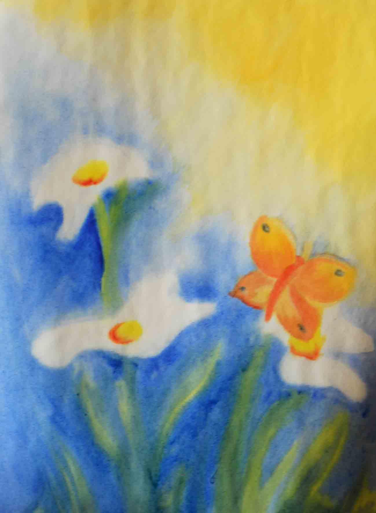 nat in nat schilderen vlinder